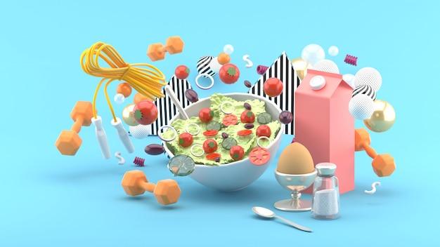 Insalate, latte, uova, manubri, corde per esercizi in mezzo a palline colorate sul blu. rendering 3d.