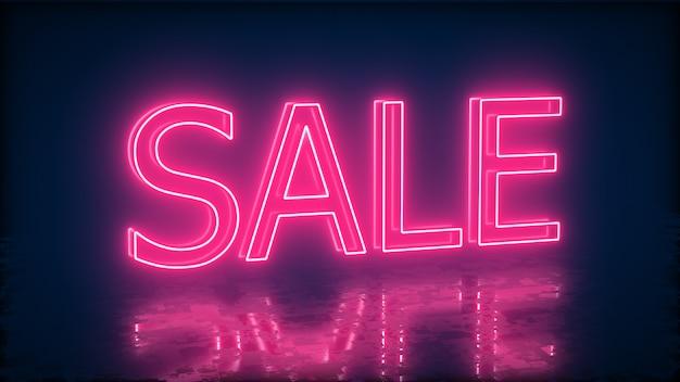 Vendita insegna al neon per promo. concetto di vendita e liquidazione.