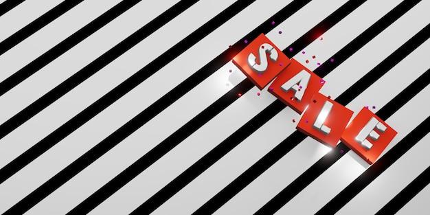Vendita testo su sfondo bianco e nero strisce diagonali motivo zebrato illustrazione 3d