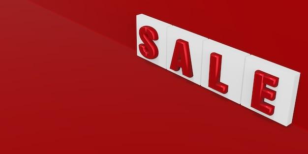 Testo di vendita su sfondo rosso 3d illustrazione (8)