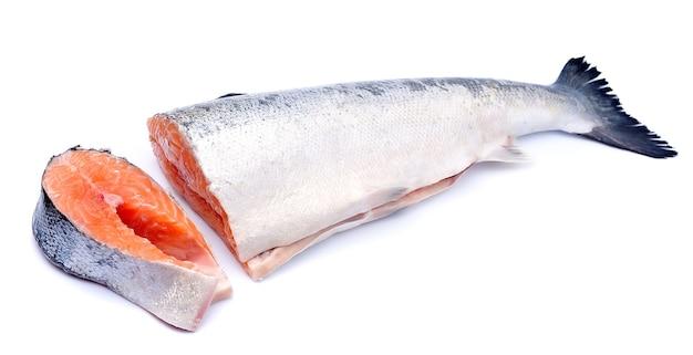 Pesce salmone su uno sfondo bianco
