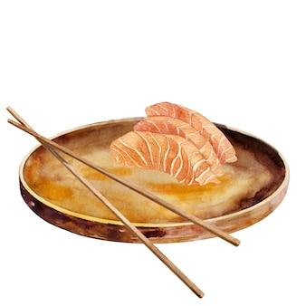 Sashimi di salmone su piatto rotondo