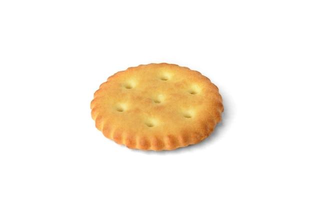 Cracker di sale isolato su sfondo bianco.