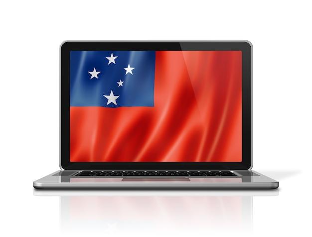 Bandiera delle samoa sullo schermo del laptop isolato su bianco. rendering di illustrazione 3d.
