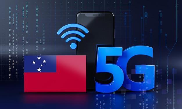 Samoa pronto per il concetto di connessione 5g. sfondo di tecnologia smartphone rendering 3d