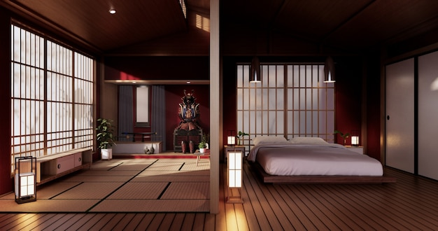 Armatura da samurai - soggiorno rosso in stile giapponese. rendering 3d