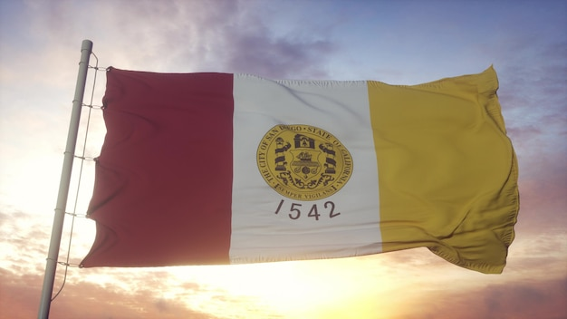 Bandiera di san diego, california, che fluttua nel vento, nel cielo e nello sfondo del sole. rendering 3d