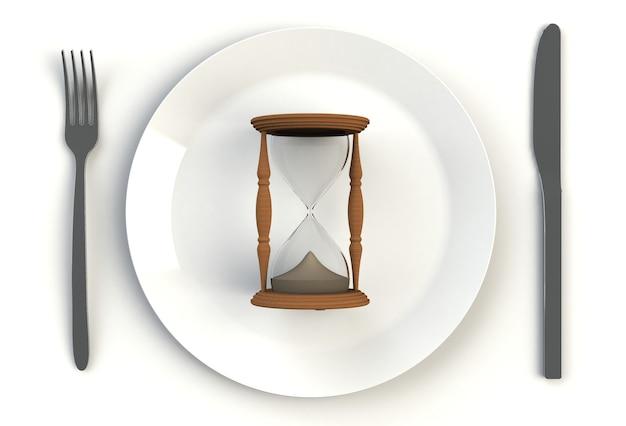 Orologio della sabbia sul piatto, coltello e forcella sulla tavola bianca, rappresentazione 3d