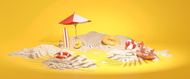 Accessori estivi sand island, rendering 3d