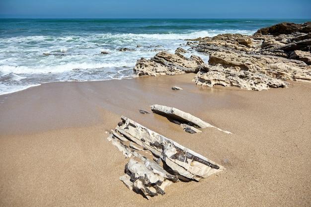 Spiaggia sabbiosa e pietre taglienti su una costa dell'oceano