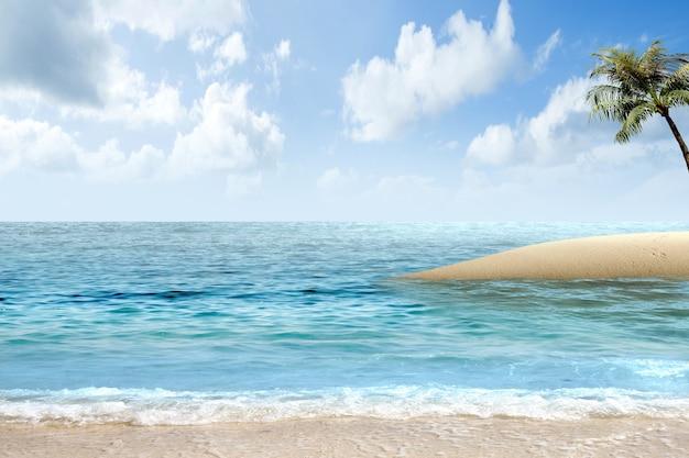 Spiaggia sabbiosa con l'oceano blu e lo sfondo del cielo blu