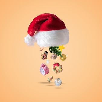 Cappello di babbo natale con decorazioni natalizie