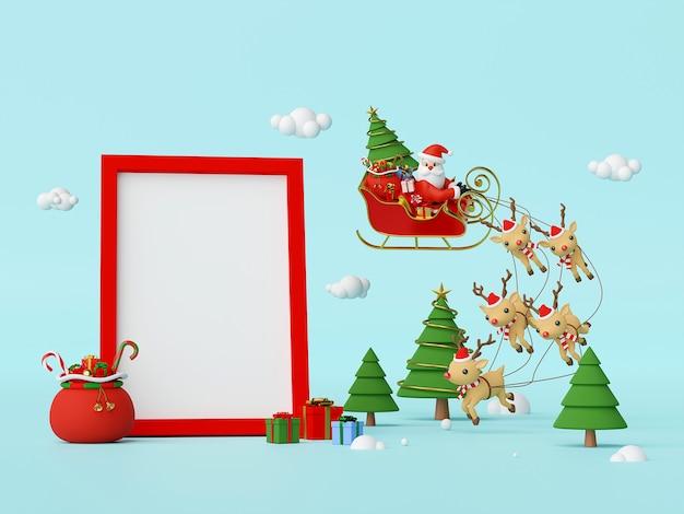 Babbo natale su una slitta piena di doni con uno spazio vuoto nella cornice rendering 3d