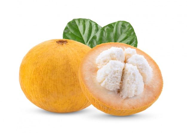 Frutta di santol con la foglia isolata su fondo bianco. piena profondità di campo