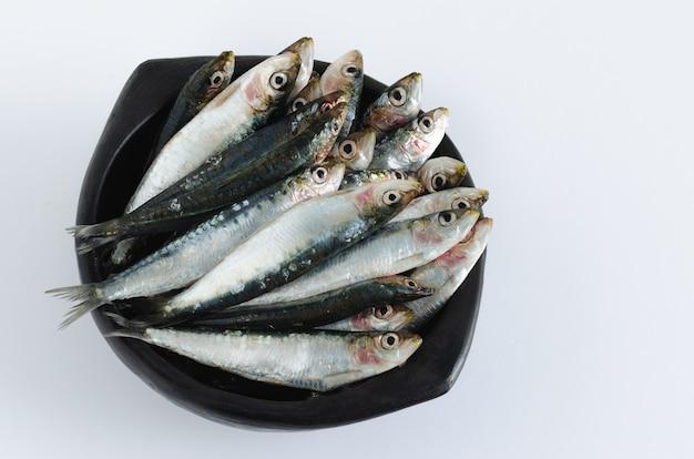 Sardine in una ciotola di ceramica su un tavolo bianco