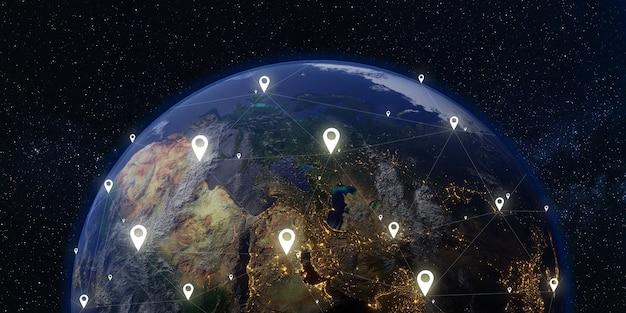 Satellite e comunicazioni terra e spazio via lattea sfondo 3d illustrazione