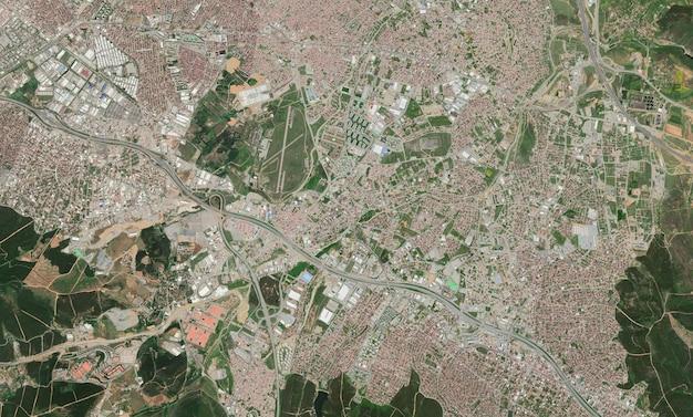 Struttura di vista superiore satellitare su istanbul Foto Premium