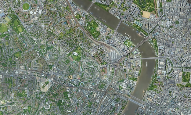 Trama di vista dall'alto satellitare su londra Foto Premium