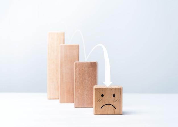 Soddisfazione, fallimento aziendale, crisi finanziaria, concetto di crollo del problema economico emoticon, faccia triste di emozione sui punti del grafico dei blocchi del cubo di legno con la freccia giù su fondo bianco.