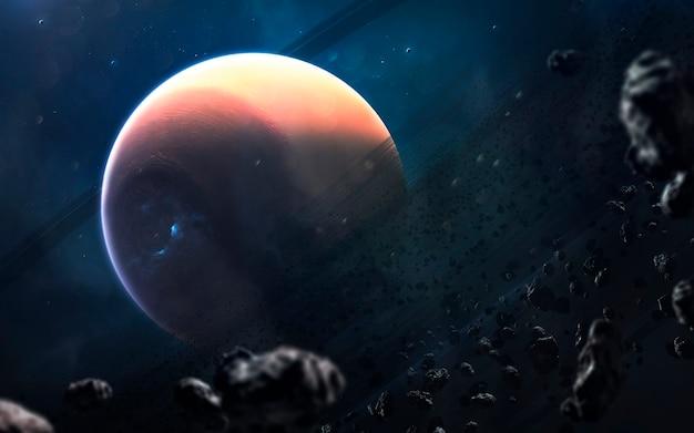Saturno, bellissimo sfondo di fantascienza con infinito spazio profondo. elementi di questa immagine forniti dalla nasa