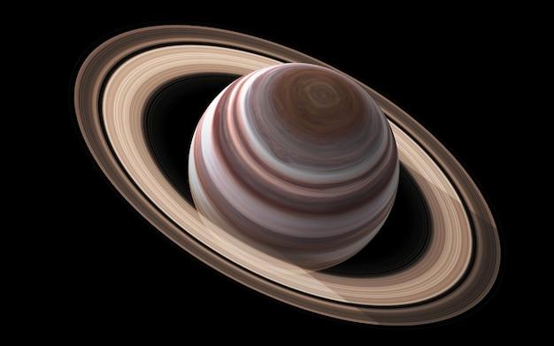 Saturno nello spazio, illustrazione 3d. .