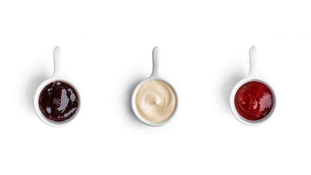 Salse isolate su bianco Foto Premium