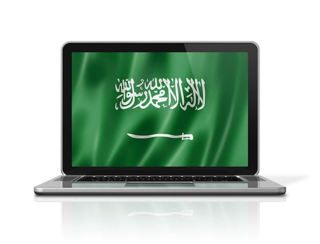 Bandiera dell'arabia saudita sullo schermo del laptop isolato su bianco. rendering di illustrazione 3d.