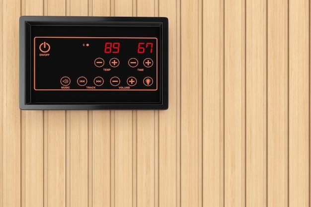 Visualizzazione del sensore di regolazione della temperatura di controllo del riscaldatore della sauna su uno sfondo di parete della tavola di legno della sauna. rendering 3d