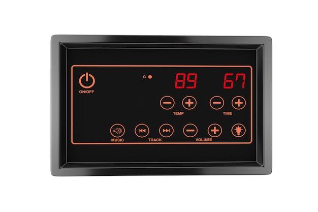 Visualizzazione del sensore di regolazione della temperatura di controllo del riscaldatore della sauna su sfondo bianco. rendering 3d