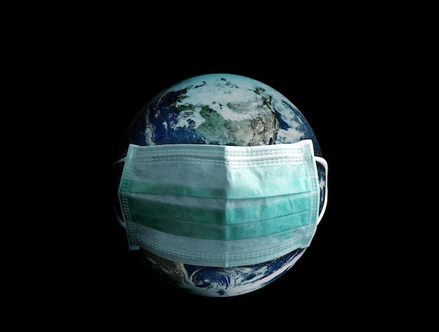 Salvare la terra indossando una maschera medica per proteggere dalla pandemia