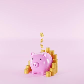 Risparmia denaro e concetto di investimento. pila di monete e salvadanaio su sfondo rosa. illustrazione 3d