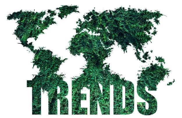 Salva il concetto di natura dall'erba verde. tendenze ecologiche. protezione dell'ambiente di piante e alberi. isolato su sfondo bianco.