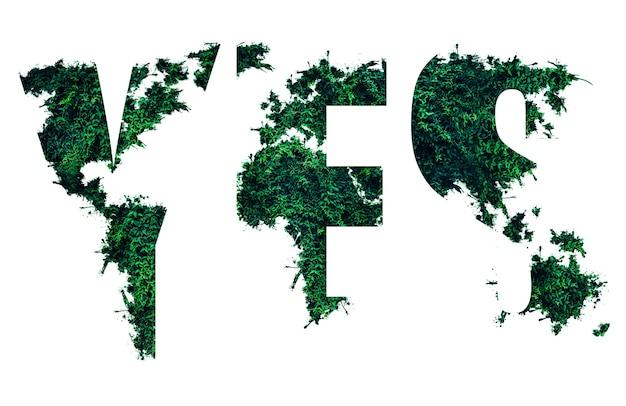 Salva il concetto di natura dall'erba verde. sì parola. tendenze ecologiche. protezione dell'ambiente di piante e alberi. isolato su sfondo bianco.