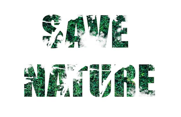 Salva il segno della natura dall'erba verde. tendenze ecologiche. protezione dell'ambiente di piante e alberi. isolato su sfondo bianco.