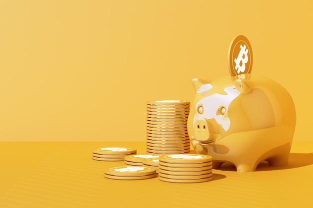 Risparmio di bitcoin dorato nel salvadanaio, scambio di denaro in valuta digitale con criptovaluta, moneta con profitto, concetto di finanza in tono giallo. rendering 3d