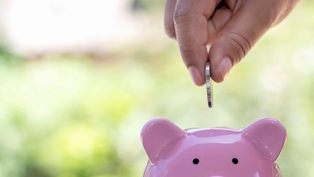 Risparmio, mano maschio ha messo le monete nel salvadanaio del maiale