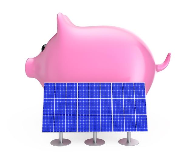 Risparmiare denaro concetto. salvadanaio con pannelli solari blu su sfondo bianco. rendering 3d.