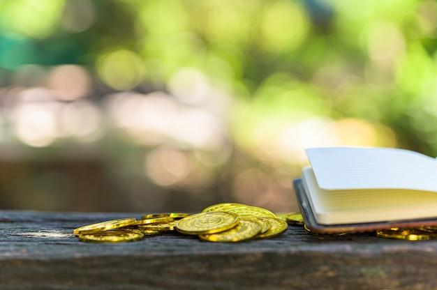Risparmia il concetto dei soldi e risparmi i soldi per sostenere tutto nella vita con il fondo del bokeh della luce del sole