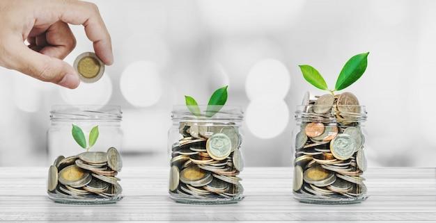 Risparmio di denaro e concetti di investimento, mano mettendo monete in bottiglie di risparmio con piante incandescente