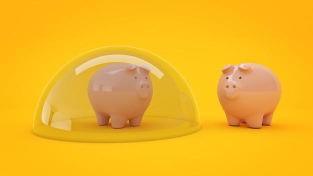 Rendering 3d del concetto di protezione dei risparmi