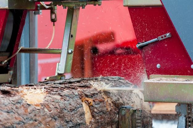 Segheria. il processo di lavorazione dei tronchi nella segatrice della segheria dell'attrezzatura sega il tronco d'albero sulle tavole della plancia.