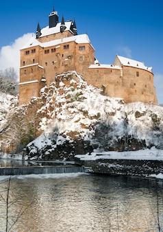 La sassonia, castello di kriebstein in inverno