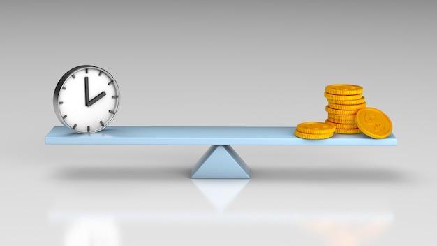 Bilancia equilibrio denaro o tempo. rendering 3d.