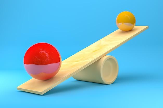 Scale con grandi palline di colore rosso e giallo su sfondo blu. rendering 3d