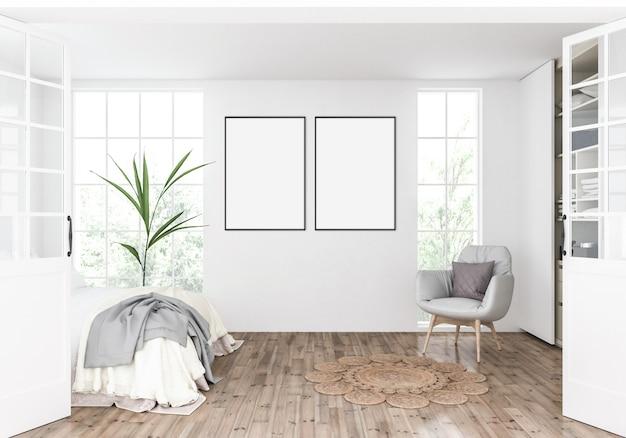 Camera da letto scandinava con doppie cornici, vetrine artistiche