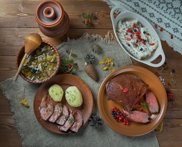 Cucina scandinava. piatti scandinavi assortiti tradizionali