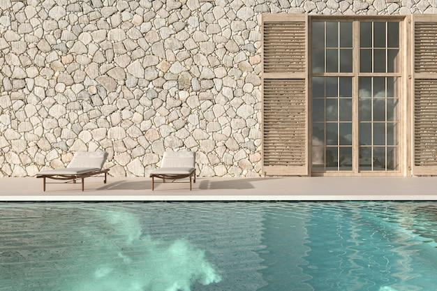 Terrazza esterna di design scandinavo con chaise longue e piscina 3d rendering illustrazione