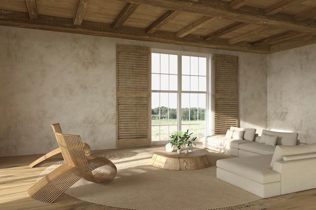 Interni soggiorno beige in stile fattoria scandinavo con mobili in legno 3d rendering illustrazione