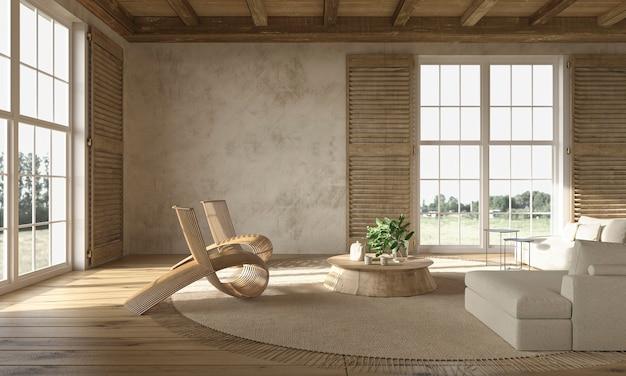 Interno beige del soggiorno in stile rustico scandinavo con mobili in legno3d render illustration