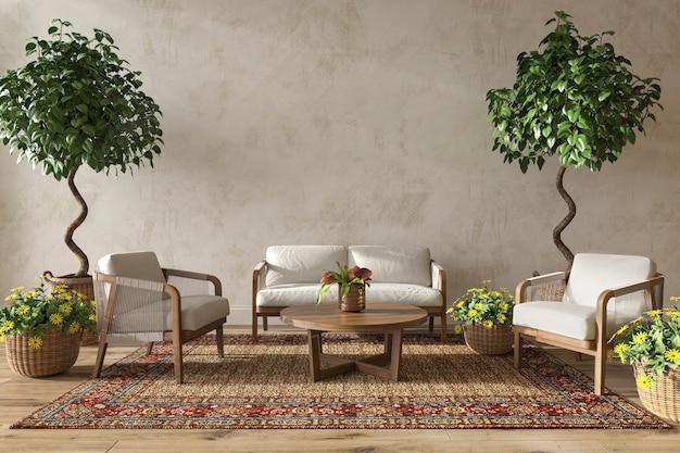 Interno soggiorno in stile fattoria scandinavo con piante naturali 3d rendering illustrazione